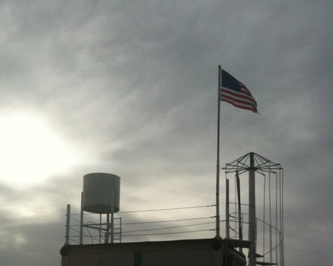 US Flag on tower